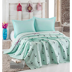 Eponj Home Flamingo Tek Kişilik Pike - Mint
