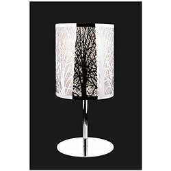 Slayt Tekli Ağaç Desenli Dekoratif Camlı Krom Gövdeli Modern Masa Lambası