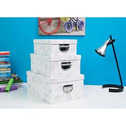 Handy Mate Yaprak Desenli 3 Boy Dekoratif Kutu Seti - Beyaz
