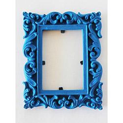 Ahşap Tasarım Renkli Çerçeve - Mavi