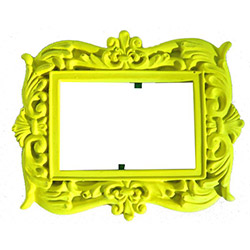 Ahşap Tasarım Renkli Çerçeve - Neon Sarı