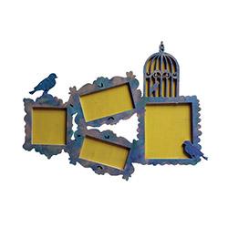 Ahşap Tasarım Kuşlar 4'lü Çerçeve - Mavi