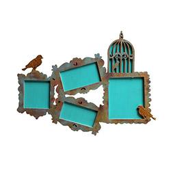 Ahşap Tasarım Kuşlar 4'lü Çerçeve - Mavi / Sarı