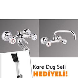 Klasik Banyo ve Mutfak Bataryası Takımı ( Kare Duş Seti Hediyeli )