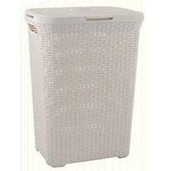 Hasır Görünümlü Kirli Çamaşır Sepeti - Beyaz