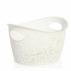 Alper Banyo Dantelli Hasır Çok Amaçlı Çamaşır Sepeti - Beyaz