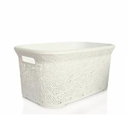 Alper Banyo Dantelli Hasır Köşeli Çamaşır Sepeti - Beyaz