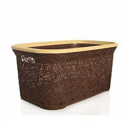 Alper Banyo Dantelli Hasır Köşeli Çamaşır Sepeti - Kahverengi