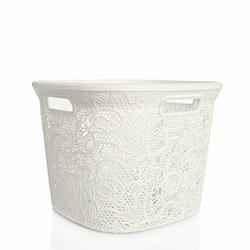 Alper Banyo Hasır Kare Çamaşır Sepeti - Beyaz