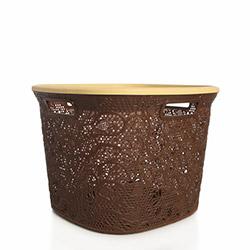 Alper Banyo Hasır Kare Çamaşır Sepeti - Kahverengi