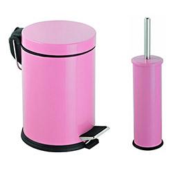 Alper Banyo Pedallı Çöp Kovası ve Klozet Fırçası Seti (Pembe) - 5 Litre