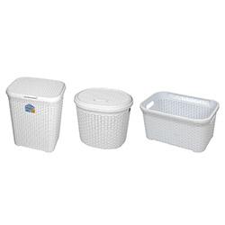 Alper 3'lü Banyo Sepeti - Beyaz