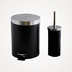 Alper Banyo Çöp Kovası ve WC Fırçası - Siyah