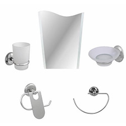 Alper Banyo No:53 5'li Aynalı Banyo Seti - Krom