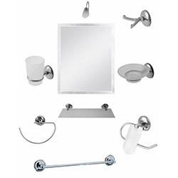 Alper Banyo No:62 9'lu Aynalı Banyo Seti - Krom