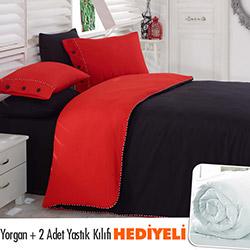 Snow Premium Natural Çift Kişilik Nevresim Takımı - Kırmızı/Siyah (Yorgan ve 2 Adet Yastık Kılıfı Hediyeli)