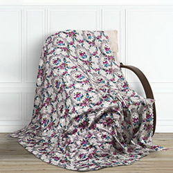 Adora Çiçekli Tay Tüyü Koltuk Örtüsü (Fuşya) - 195x215 cm