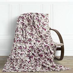 Snow Premium Çiçekli Tay Tüyü Koltuk Örtüsü (Lila/Fuşya) - 195x215 cm