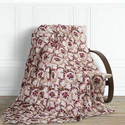 Adora Çiçekli Tay Tüyü Koltuk Örtüsü (Kırmızı) - 195x215 cm