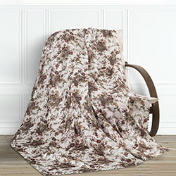 Adora Çiçekli Tay Tüyü Koltuk Örtüsü (Kahverengi) - 195x215 cm