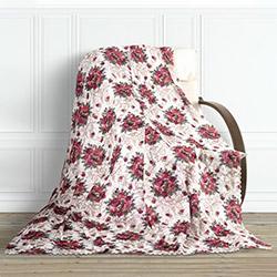 Adora Çiçekli Tay Tüyü Koltuk Örtüsü (Bordo) - 195x215 cm