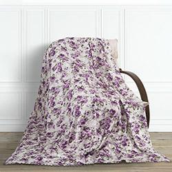 Adora Çiçekli Tay Tüyü Koltuk Örtüsü (Mor) - 195x215 cm