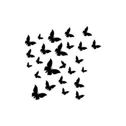 Kadife Duvar Sticker Kelebekler (25 Adet) - Siyah