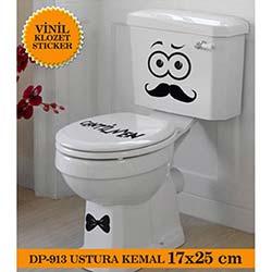 Vinil Klozet Sticker Ustura Kemal (Siyah) - 18x25 cm