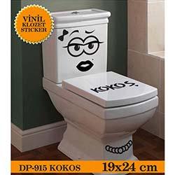 Vinil Klozet Sticker Kokoş (Siyah) - 19x24 cm