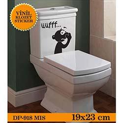 Vinil Klozet Sticker Mis (Siyah) - 19x23 cm