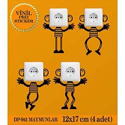Vinil Piriz Sticker Maymunlar (Siyah) - 4 Adet