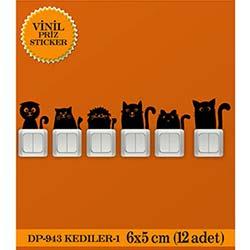 Vinil Piriz Sticker Kediler 1 (Siyah) - 12 Adet
