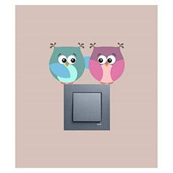 Artikel Baykuş Çift 4'Lü Vinil Priz Sticker - 13,8x7,6  cm