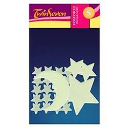 Fosforlu Duvar Sticker Ay Yıldız 22 Adet
