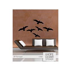 Kadife Duvar Sticker Kuşlar  6 Adet