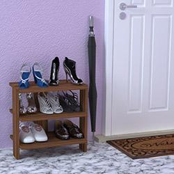 Just Home Alina 3 Raflı Ayakkabılık (45 cm) - Ceviz