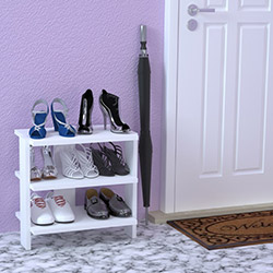 Just Home Alina 3 Raflı Ayakkabılık (45 cm) - Beyaz