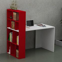 Just Home Pironi Çalışma Masası - Beyaz / Kırmızı