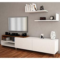 House Line Dizayn Tv Ünitesi - Beyaz / Ceviz