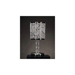 Mimoza Tekli Metalik Renkli Slayt Abajurlu Modern Masa Lambası - Beyaz