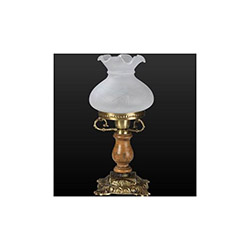 Taç Ahşaplı Eskitme Masa Lambası - Beyaz