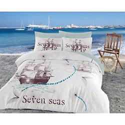 Cotton Box Maritime Seven Seas Ranforce Çift Kişilik Nevresim Takımı - Mint