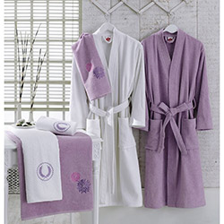 Cotton Box Nakışlı Aile Bornoz Seti - Lila/Beyaz