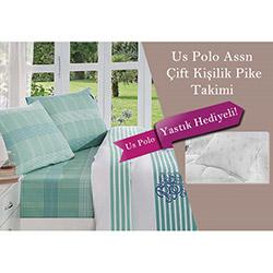 Us Polo Assn Cobalt Çift Kişilik Pike Takımı (2 Yastık Hediyeli) - Multi