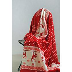 Special Home Geyik Polar Çift Kişilik Battaniye - Kırmızı