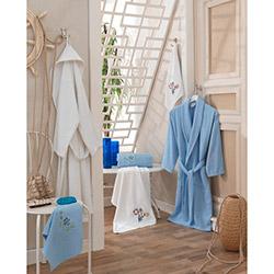 Secret Soft Gülpembe Aile Bornoz Seti - Mavi/Beyaz