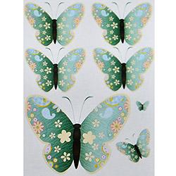 Secret Kelebek Çiçekli 3D Sticker - Mavi
