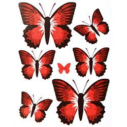Secret Kelebek Çiçekli 3D Sticker - Kırmızı