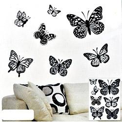 Secret Kelebek 3D Sticker - Siyah Beyaz