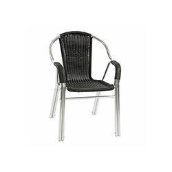 Alüminyum Rattan Telsiz Sarılı Sandalye - Siyah